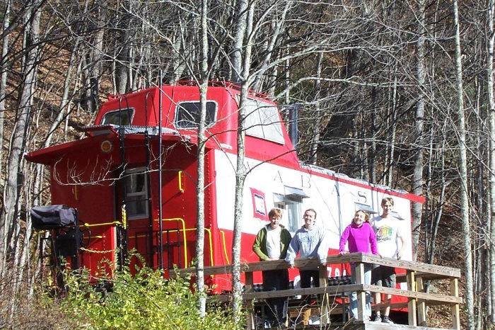 The caboose is dropped off in a wilderness location, miles from civilization.