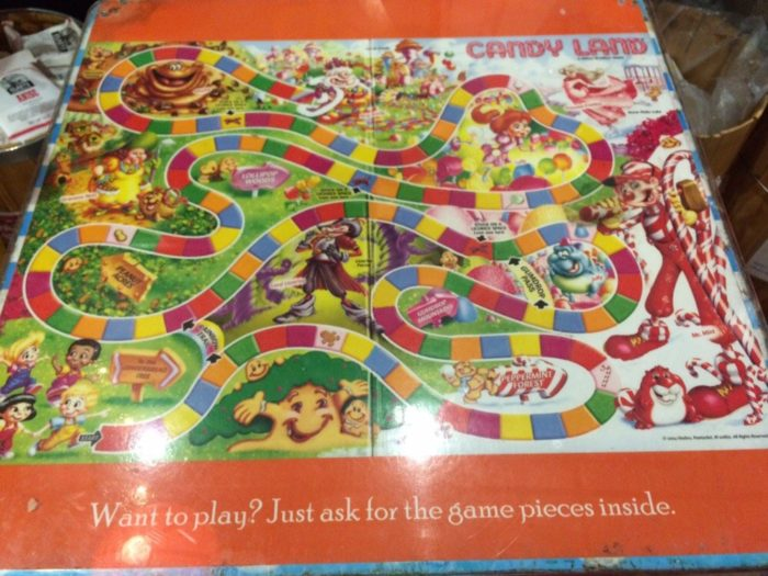 Candyland? Of course! The games are under glass so all you have to do is pick up the pieces at the front counter. How fun is that?