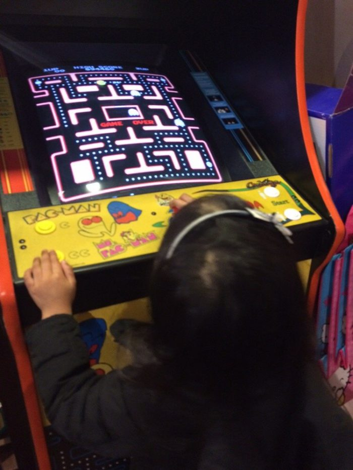 """And then there's this. Not only can you reminisce with your kids about what it was like back in """"your day."""" You can now teach them the fine art of Pac Man. The Pokemon Go of our childhood."""