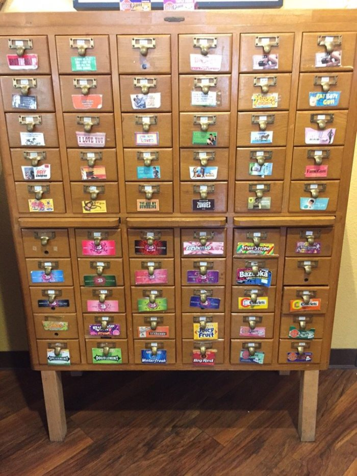 An old fashioned library card catalog. Guess what this one is filled with? GUM!