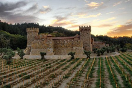 A Tuscan style castle sits in a vineyard. What a backdrop, along with the closest some of us will ever get to visiting Italy. Vintners in Napa have been known to pay homage to their homeland by the styles of the buildings on their acreages. This is such a precious tribute to family.