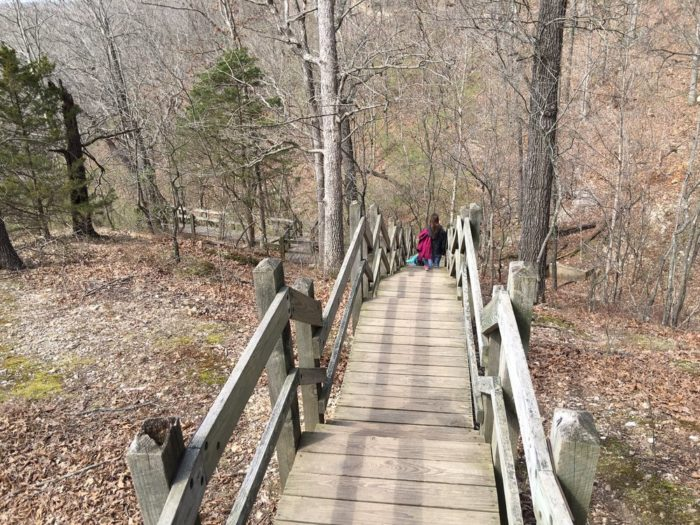 At the end of the bluff, a wooden boardwalk descends into the river valley.