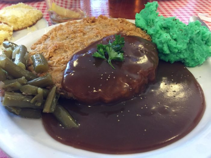 ...such as this plate of country fried steak. mashed potatoes (St. Patricks Day style) and green beans.