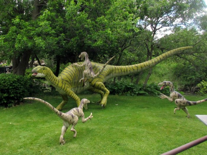 The dinosaurs are displayed in somewhat realistic settings - hunting, eating, drinking, etc.