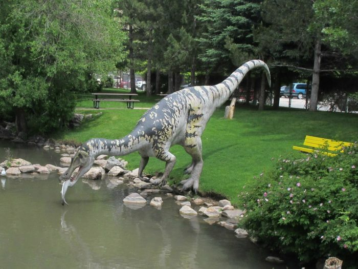 The sculptures are based on real dinosaur skeletons, so they're true to size.