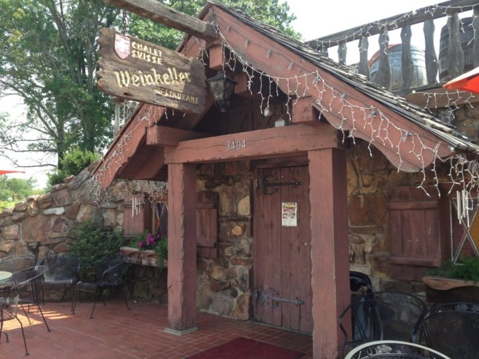 The restaurant building was once a hand-dug wine cellar constructed in 1880 by one of the first Wiederkehers to settle in Arkansas. It was converted into a restaurant in 1967.