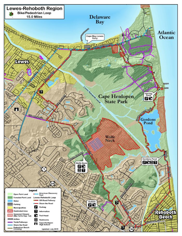The Regional Loop is a combination of the Junction and Breakwater Trail and the Gordon's Pond Trail in Cape Henlopen State Park