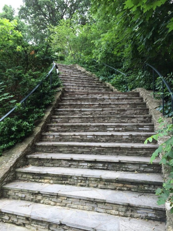 But the part of the park that a lot of people don't know about is hiding at the bottom of this stone staircase.