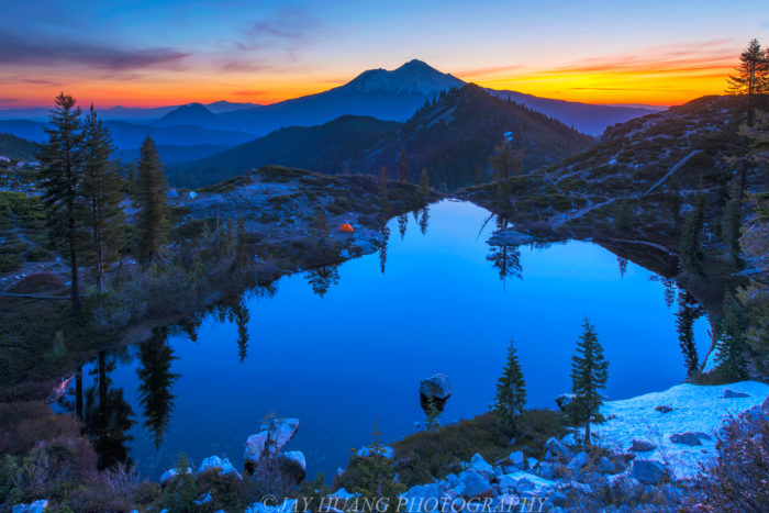 Dawn on Heart Lake is a heavenly spot. See that tiny speck of orange in the shot? That's one camper's tent. Yes, you can stay here. Just make sure to double check with the forest service.