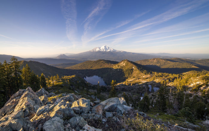 """Why this trail? One photographer captured our thoughts perfectly, """"The golden hour view of Mount Shasta, Black Butte, Castle Lake, and Heart Lake from the summit of Castle Peak. The lakes are among numerous hiking destinations within a section of the Klamath Mountains known as the Trinity Divide, a rugged wilderness often relatively overlooked in favor of the more prominent nearby mountain."""""""