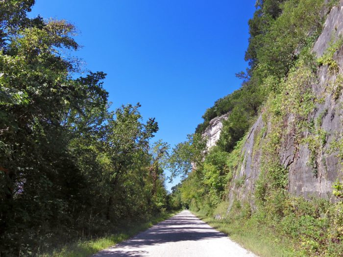 The crushed limestone proves to be a much more gentle path for runners and walkers compared to asphalt roads and cement sidewalks. On parts of the trail, you'll notice limestone bluffs towering over you.