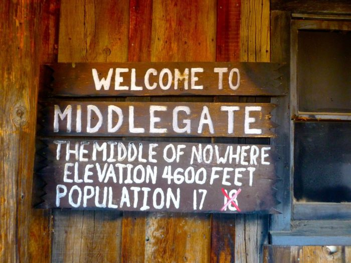 Welcome to Middlegate. The middle of nowhere. Elevation 4,600 feet. Population 17 (Formerly 18).