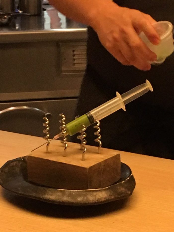 It is probably the only place where you see a pesto filled syringe fill fusilli, that tastes just as good as it looks being prepared.
