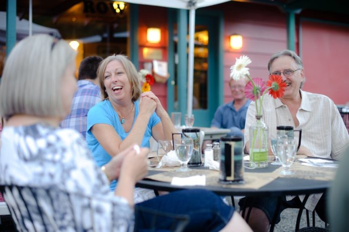 Dine indoors, or on the patio.