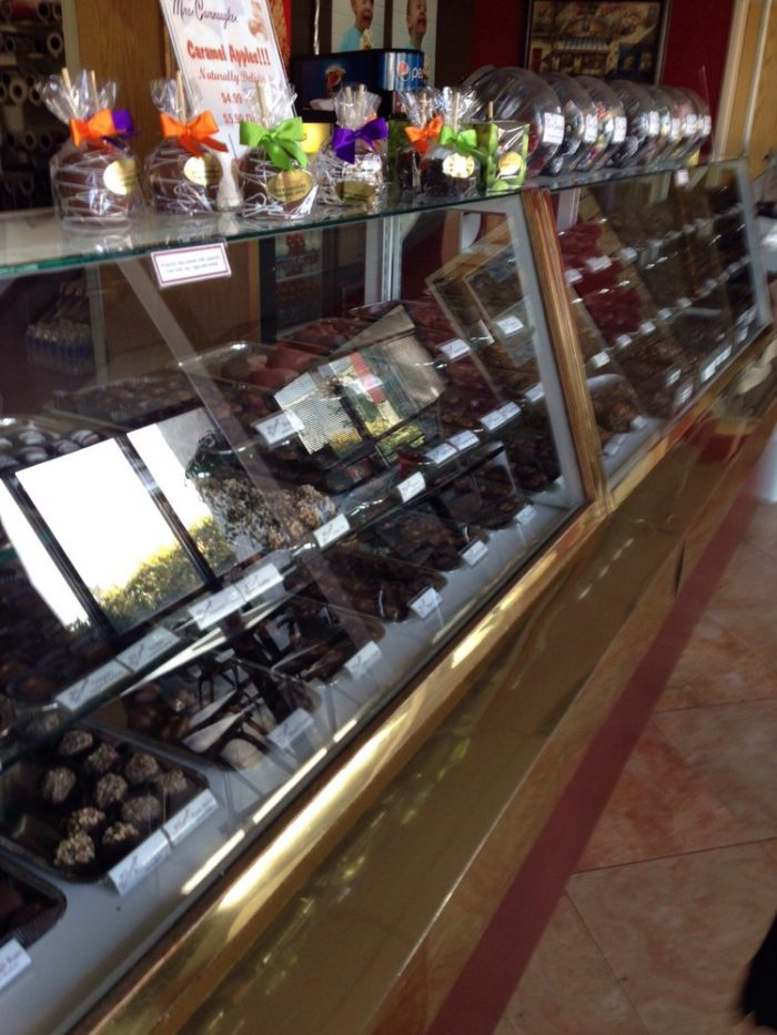 The chocolate case has so many delicious confections...good luck picking just one.
