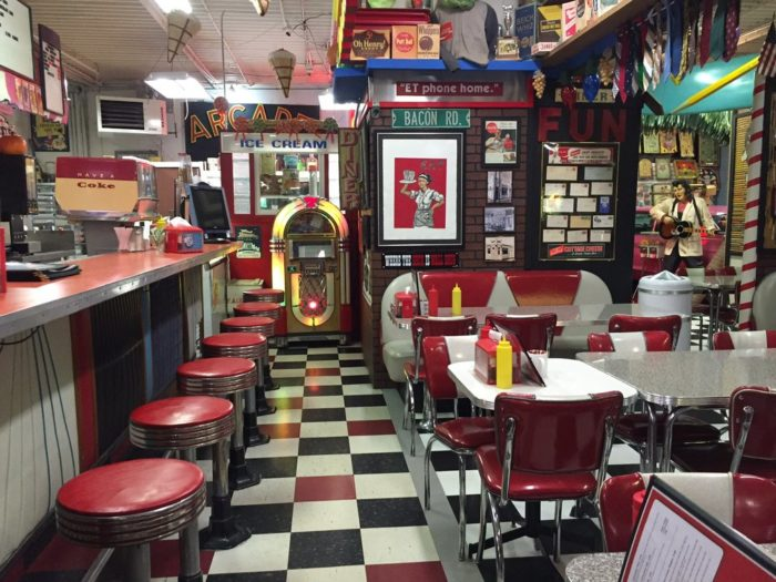 If you need to take a break while you're shopping (and you might - this place is BIG), stop by the soda fountain. You can grab some Orsi's pizza, a Nathan's hot dog, a malt, a White Castle burger, an ice cream sundae, and much more.