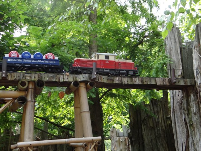 Along the way, you'll find a a motorized train display...