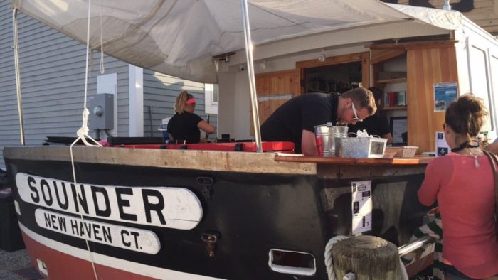 But now food is served right out the back of this fully transportable lobster boat!