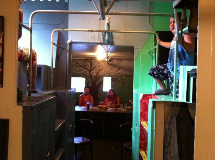 In addition to bank seating, the restaurant boasted both an attached railroad caboose...