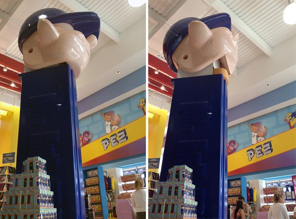 Say hello to the world's largest PEZ dispenser! This guy stands over 7 feet tall and actually opens and closes as you enter the building.