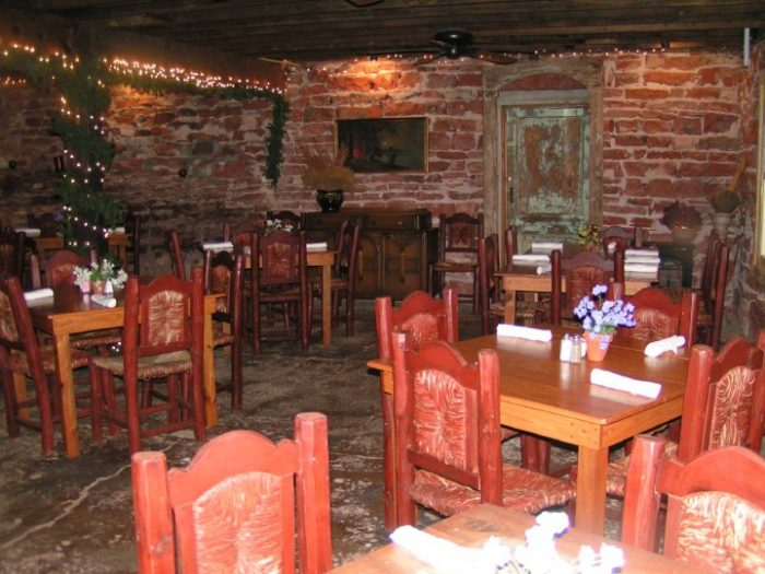The inside dining room is full of charm and character.
