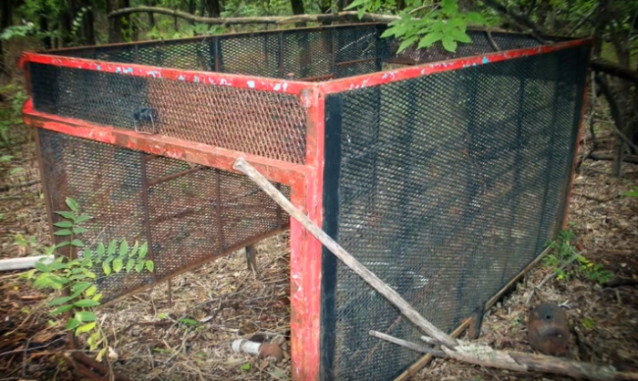 This is an abandoned cage left behind. What type of animal do you think it housed?