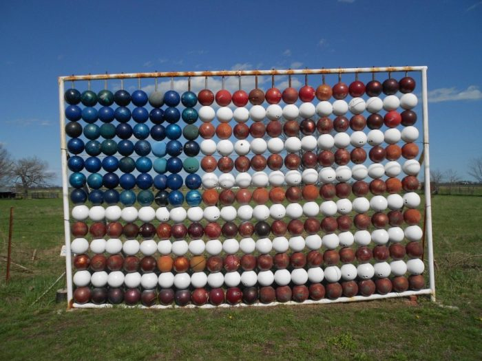 "Have you ever seen an American flag made out of bowling balls? Great job, Chris Barbee, aka ""The Bowling Ball Man."""