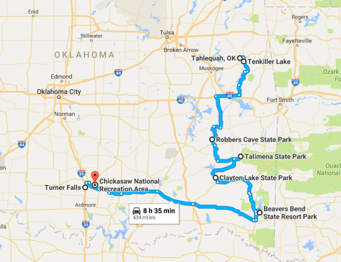 Best Fall Foliage Road Trip To Take In Oklahoma - Map of oklahoma lakes