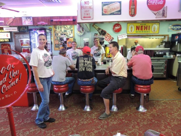 You can even choose to dine at the old school counter with red vinyl stools for a true 1950s experience.