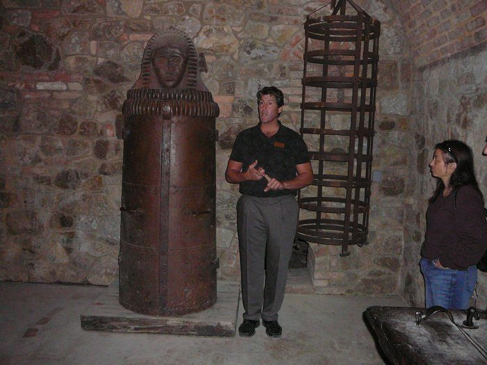 You can tour a torture chamber with a guide. There are replicated torture devices to peruse, but the Iron Maiden is authentic. Purchased for $13,000 in Pieza, Italy, it's over 300 years old.