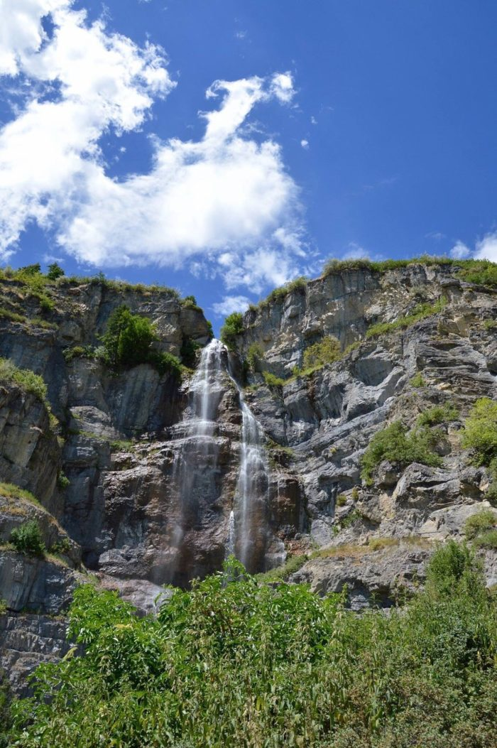 The two-tiered Stewart Falls is 200 feet tall, and offers an icy cold shower for those who wish to play in it.
