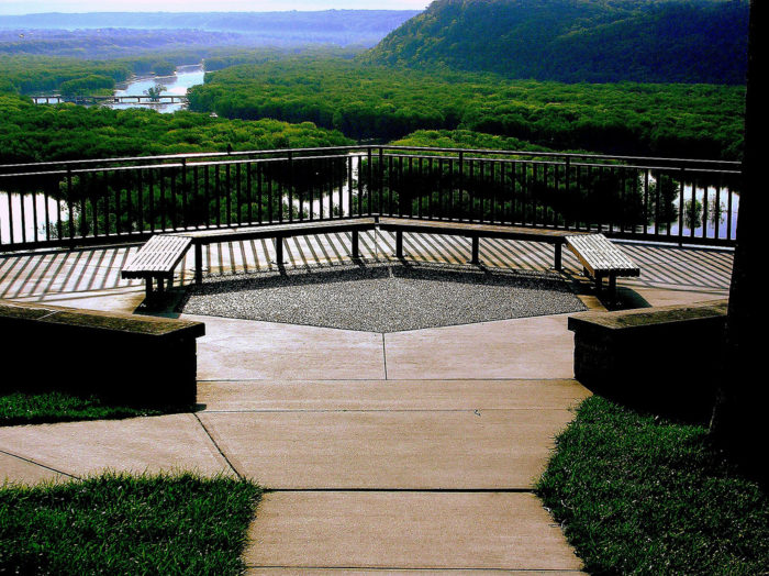 At the end of the trail, you'll find a lookout on a 500-foot-bluff, where you can enjoy panoramic views of the land below.