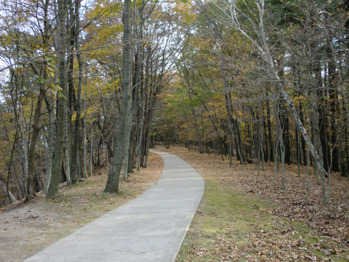 This trail is 4.1 miles out and back, and on it, you'll see all kinds of lush and rugged natural beauty, like wooded bluffs and valleys, fossil remains and Bridal Veil Falls.
