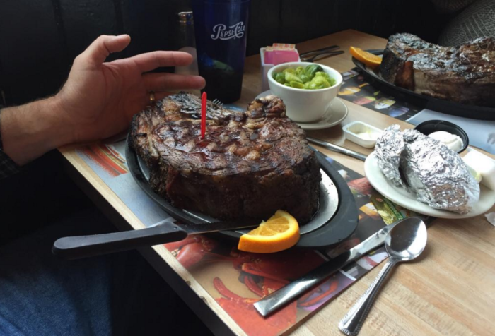 If you're not a fan of seafood, don't worry. There are other items on the menu that are sure to please. Just look at the size of that steak!