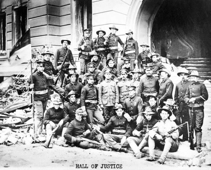 5. The 1906 San Francisco earthquake left the entire city devastated. These are the emergency service folks who kept the peace during unrest and heartache. The earthquake was followed by fire and more deaths.