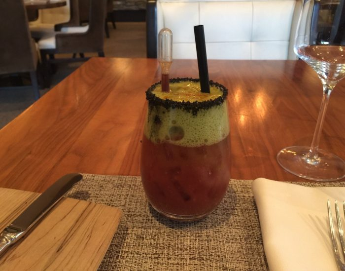 J&G's Bloody Marys are legendary. The 7452 Bloody Mary is prepared with wasabi and celery espuma, cayenne pepper and black lava salt.