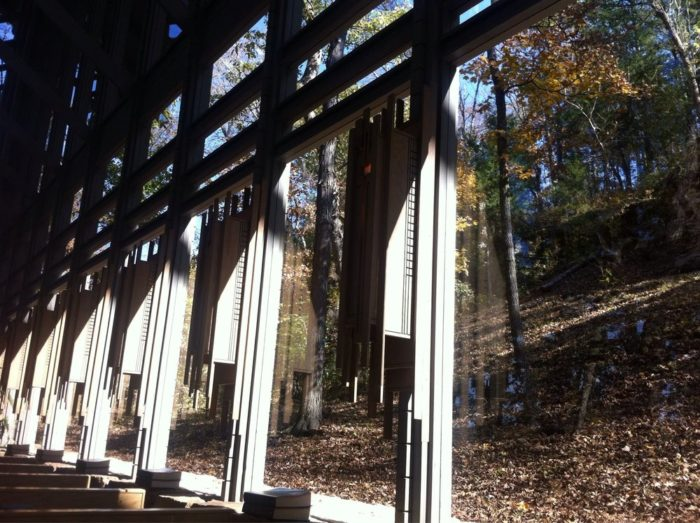 Eureka Springs is an incredibly popular place for destination weddings, and that's due in part to Thorncrown Chapel. The glass walls of the chapel almost make it like an outdoor wedding, without the risk of interference from the weather.