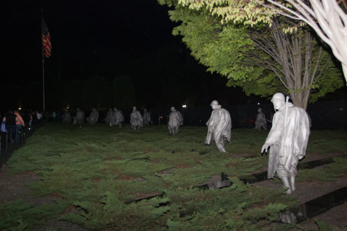 The Monuments by Moonlight Tour stops at six monuments: the Martin Luther King Jr. Memorial, FDR Memorial. Lincoln Memorial, Vietnam War Memorial, Korean War Memorial and the Marine Corps Memorial.