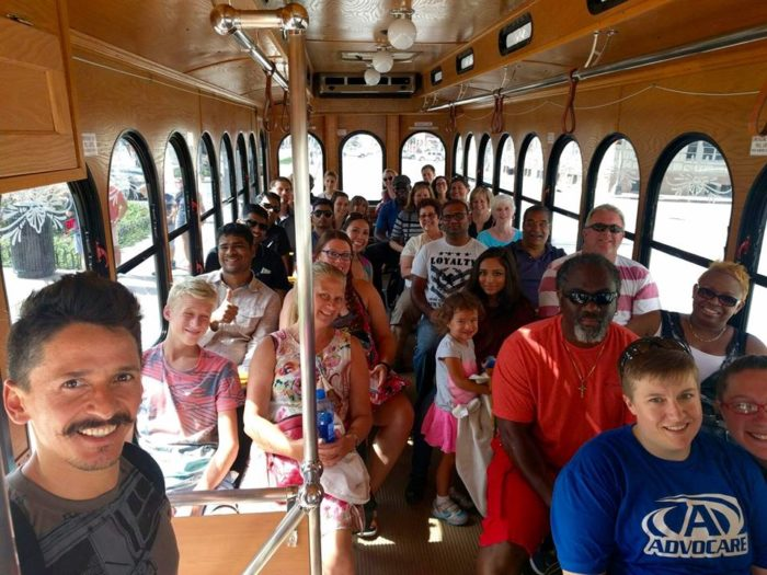 As you can see, the trolly holds a lot of people, so bring the whole family or a big group of friends!