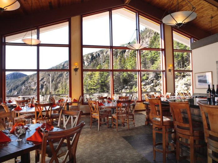 The rustic interior plays off the Austrian roots of the chalet and has panoramic views and floor to ceiling windows.