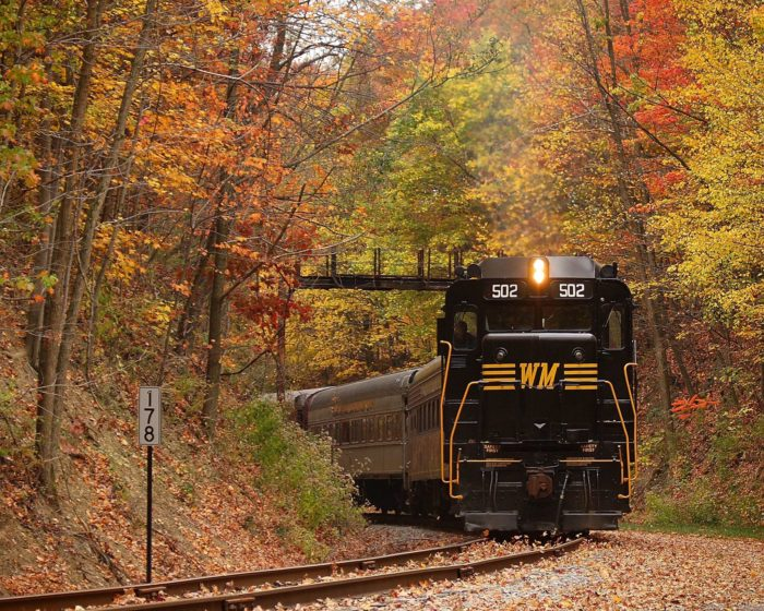 The Western Maryland Scenic Railroad is a roundtrip train ride that starts in Downtown Cumberland, about two hours outside of Washington DC.