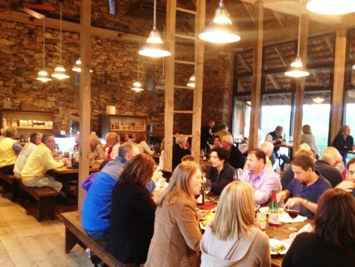 Sit at one of the outdoor tables to enjoy the crisp autumn air or dine indoors. The renovated stone barn, the main dining area, dates back to the 18th century.