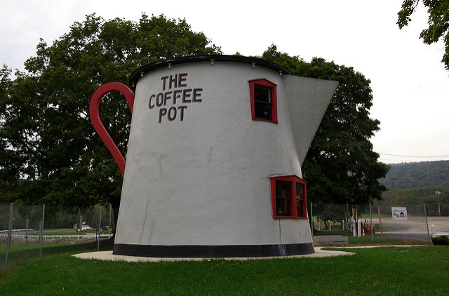 Save some time for the whimsical during your day trip to Bedford. A stop at the Coffee Pot, only one of five such coffee pot roadside attractions left in the United States, is a must.