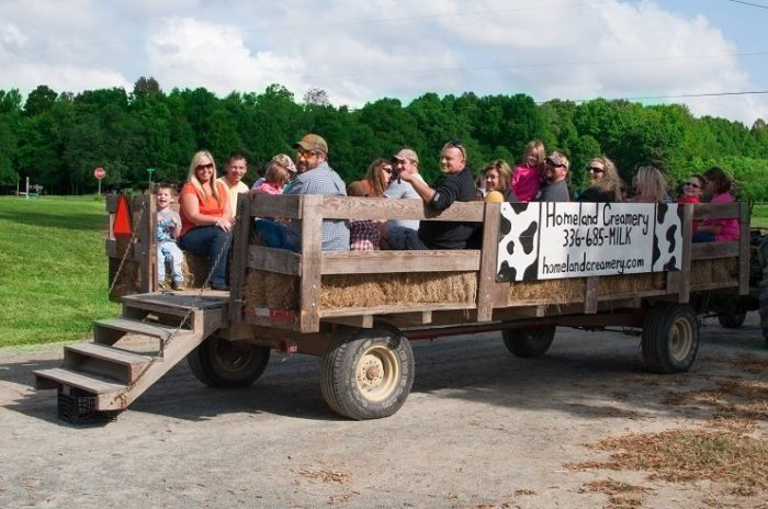 The tour starts with a 20-minute hayride around the farm.