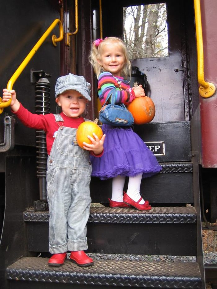 "Then it's ""all aboard"" as people and pumpkins head back to The North Conway Depot."
