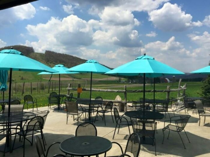 If you happen to visit while the weather is warm, head out to the patio and take in the sweeping mountain views.