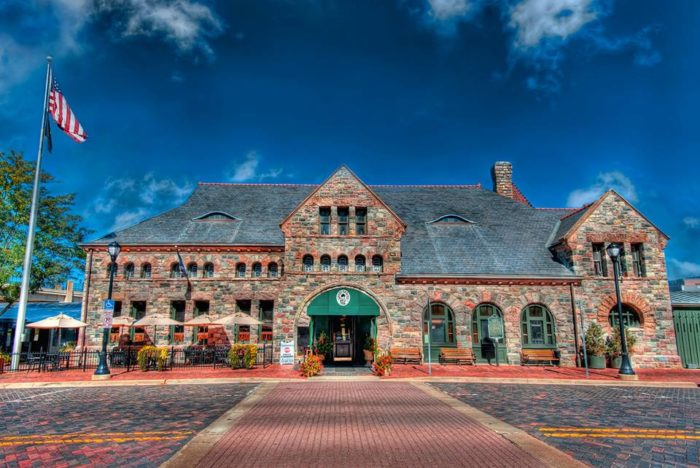 The restaurant is located in the restored 1886 Michigan Central Depot train station.