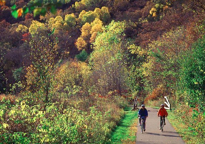 Speaking of the Root River, Lanesboro is famous for being home of the Root River Bike Trail. This 60-mile trail takes bikers past 300-foot limestone bluffs and through beautiful fall forests. If you don't want to pack a bike, you can always rent one from Little River General Store in downtown Lanesboro.