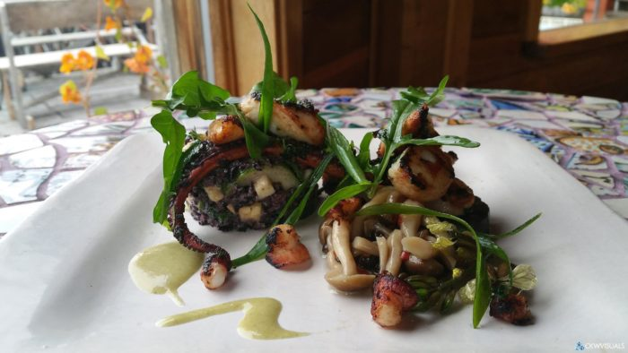 If you to be bold and different, try the pan seared and braised octopus on a forbidden rice salad. The bold flavors and unique textures collide to form the most scrumptious meal of the summer.