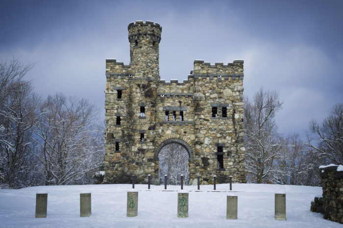 A few minutes up the hill (walk along the fence), you'll spot Bancroft's Castle. It was built in 1906 by General William Bancroft for his wife.